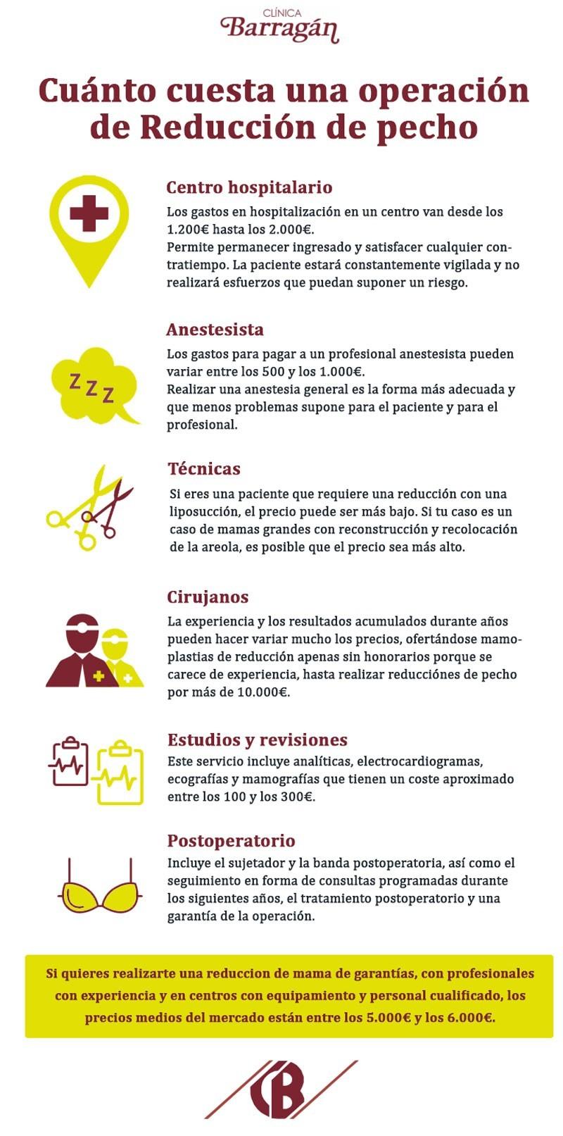 Infografía sobre el precio de la reducción de pecho